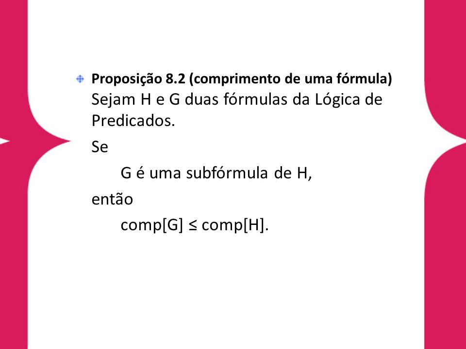 Se G é uma subfórmula de H, então comp[G] ≤ comp[H].